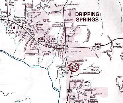 Map Of Dripping Springs Texas