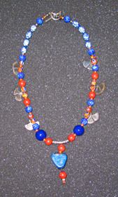 blue red beaded necklace